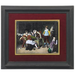 "Théophile Soyer, Large Painted Enamel on Copper, ""The Chess Game"""