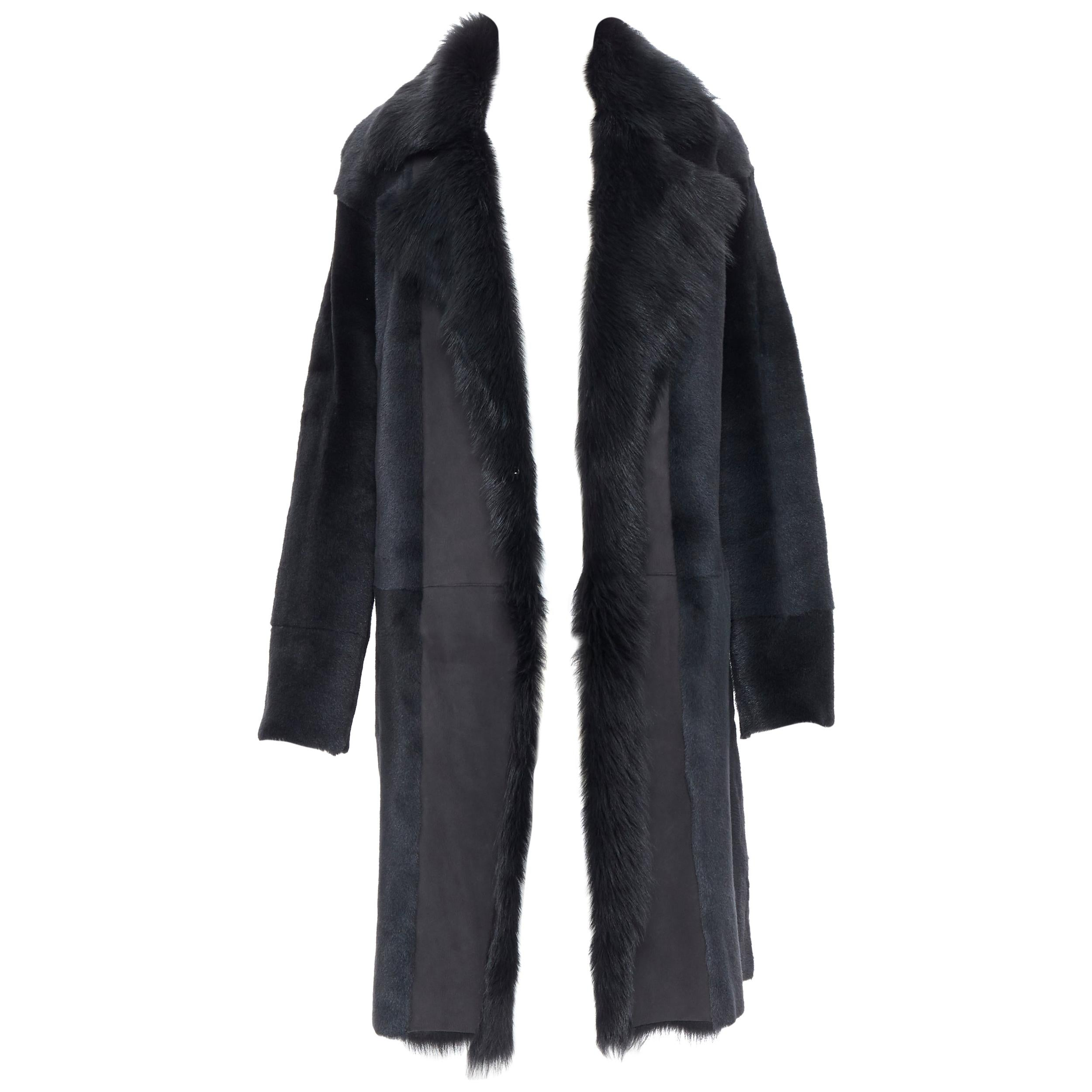 THEORY black dyed shearling lamb genuine fur leather oversized winter coat XS