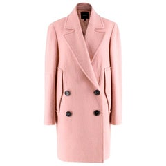 Theory Cape Double-breasted Wool Coat in Blush - Size S