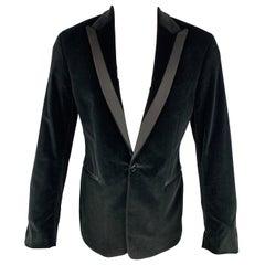 THEORY Chest Size 40 Regular Solid Black Velvet Peak Lapel Sport Coat