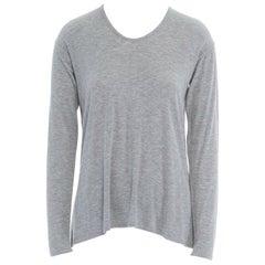 THEORY grey viscose blend long sleeve side slit t-shirt XS
