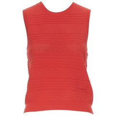 THEORY red polyester textured jacquard knit sleeveless vest top XS