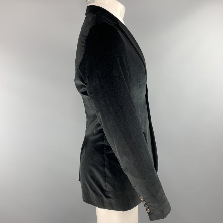 THEORY Size 38 Black Cotton Velvet Notch Lapel Sport Coat In Excellent Condition For Sale In San Francisco, CA
