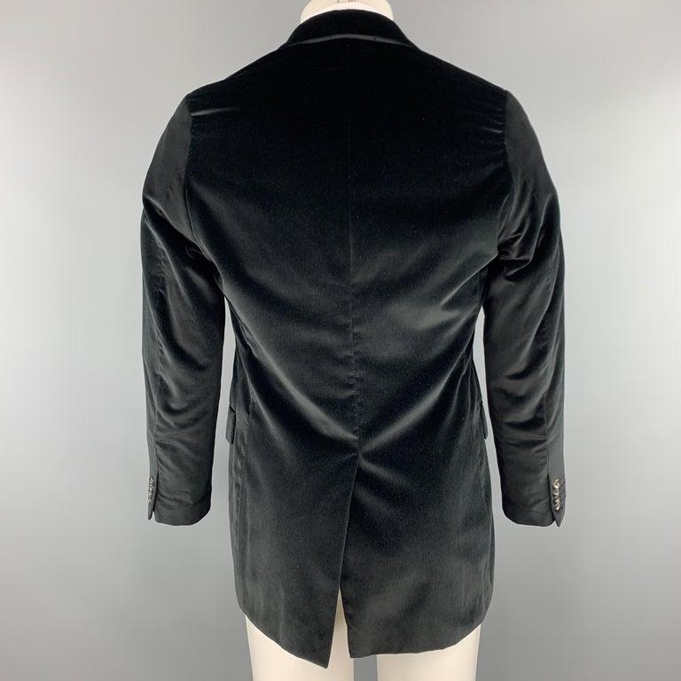 Men's THEORY Size 38 Black Cotton Velvet Notch Lapel Sport Coat For Sale