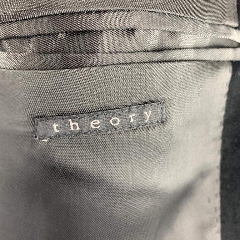 THEORY Size 38 Black Cotton Velvet Notch Lapel Sport Coat For Sale 1