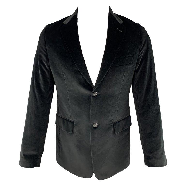 THEORY Size 38 Black Cotton Velvet Notch Lapel Sport Coat For Sale