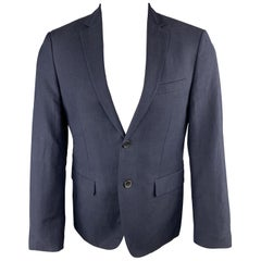 THEORY Size 38 Short Navy Wool / Linen Notch Lapel Sport Coat