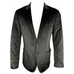 THEORY Size 40 Regular Black Velvet Notch Lapel Patch Pocket Sport Coat