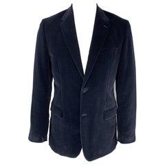 THEORY Size 42 Navy Stripe Cotton Velvet Notch Lapel Long Sport Coat