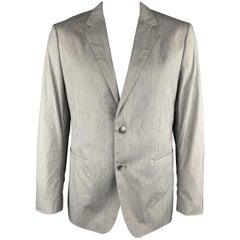 THEORY Size 44 Gray Heather Cotton Blend Notch Lapel Sport Coat Jacket