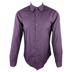 THEORY Size M Purple Solid Cotton Button Up Long Sleeve Shirt