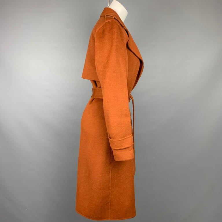Brown THEORY Size M Rust Wool / Cashmere Shawl Collar Belted Coat