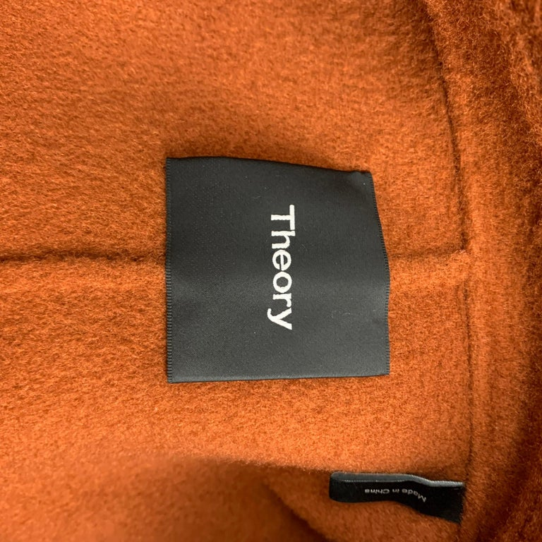 THEORY Size M Rust Wool / Cashmere Shawl Collar Belted Coat 1