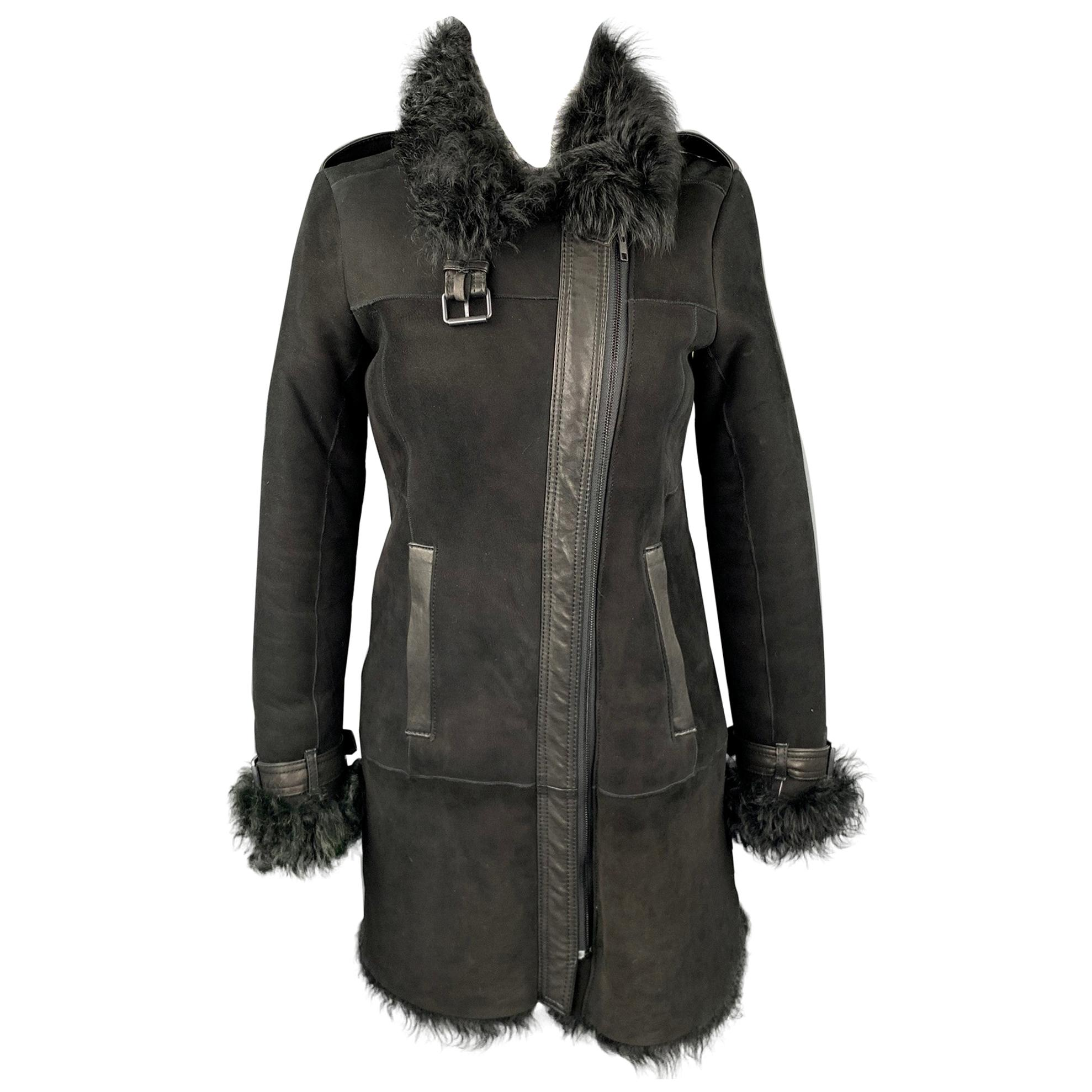 THEORY Size Petite Black Shearling Epaulettes Zip Up Coat