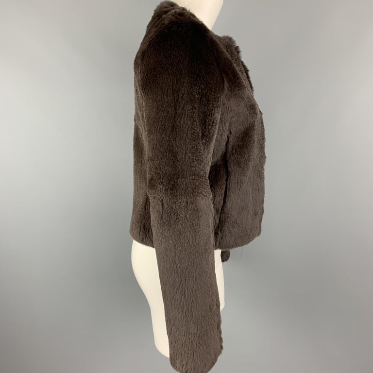 Black THEORY Size S Brown Rabbit Fur Collarless Jacket For Sale