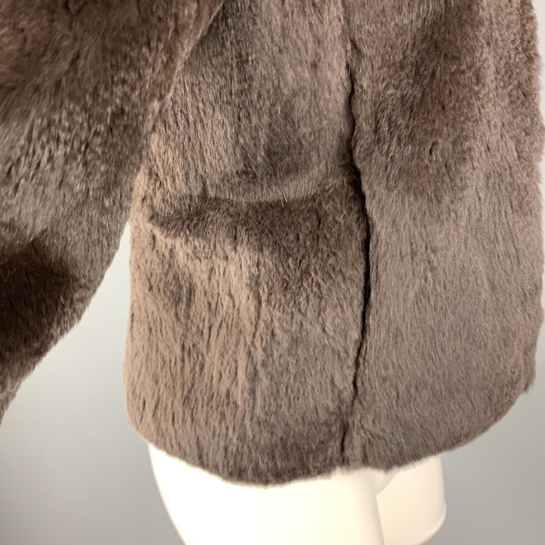 THEORY Size S Brown Rabbit Fur Collarless Jacket In Excellent Condition For Sale In San Francisco, CA