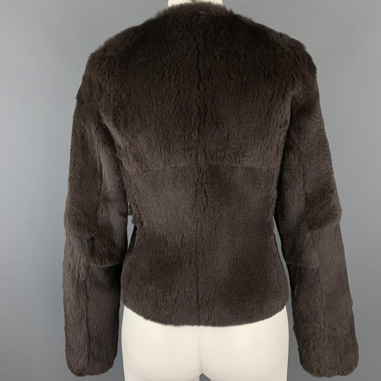 Women's THEORY Size S Brown Rabbit Fur Collarless Jacket For Sale