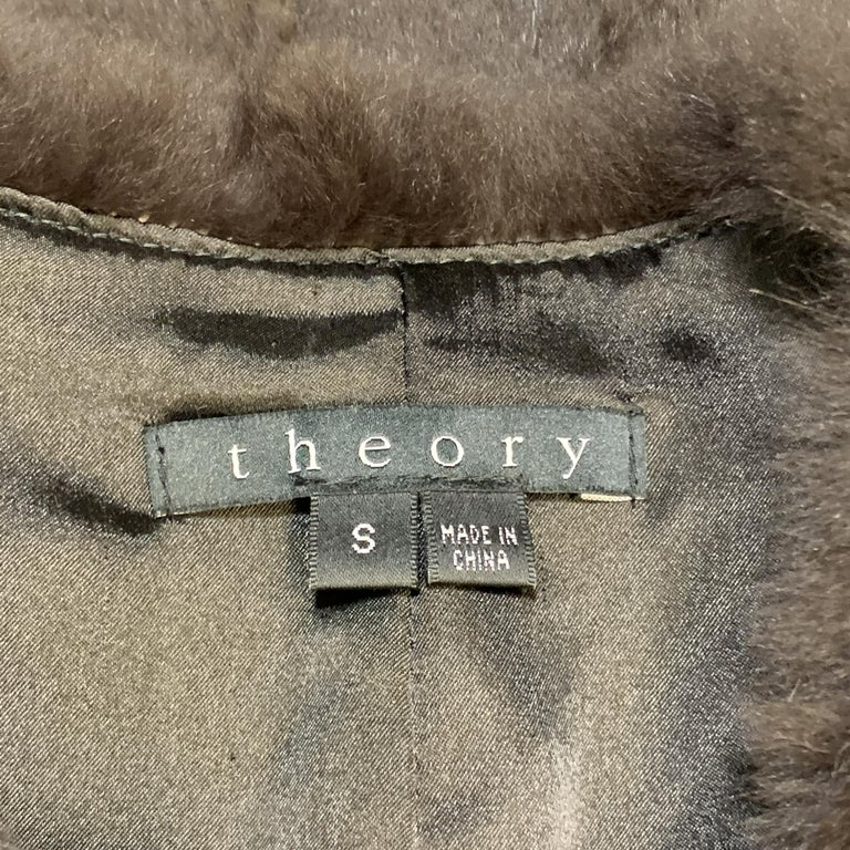 THEORY Size S Brown Rabbit Fur Collarless Jacket For Sale 1
