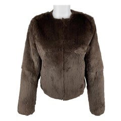THEORY Size S Brown Rabbit Fur Collarless Jacket
