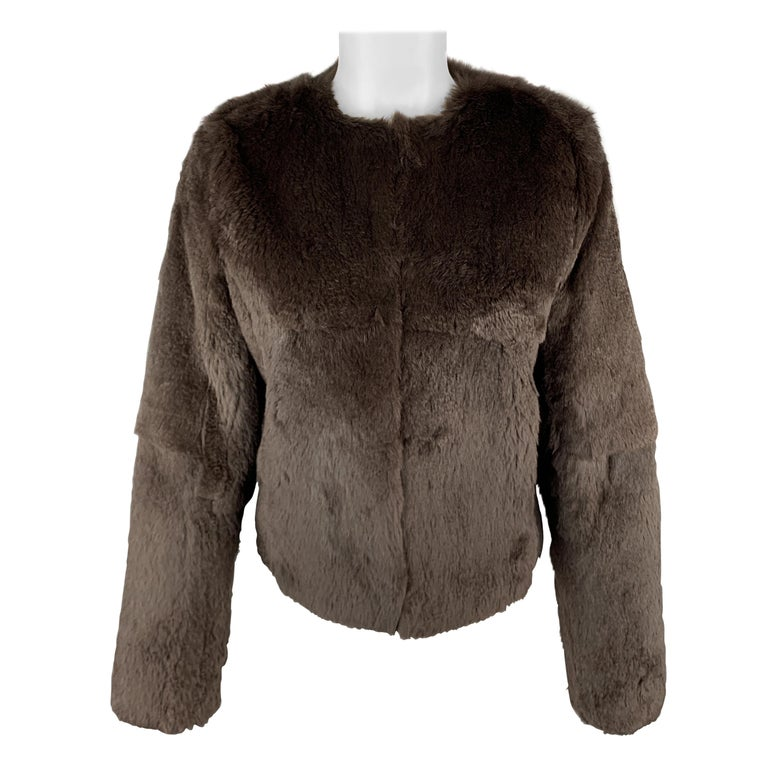 THEORY Size S Brown Rabbit Fur Collarless Jacket For Sale