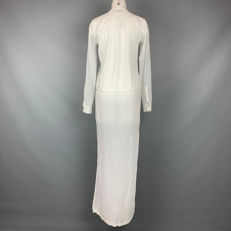 THEORY Size S White Cotton Long Shirt Dress In Good Condition For Sale In San Francisco, CA