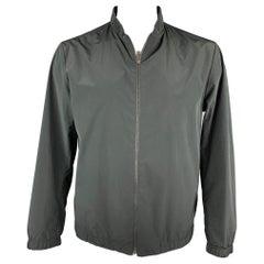 THEORY Size XL Black Polyester / Nylon Full Zip Ribbed Collar Jacket