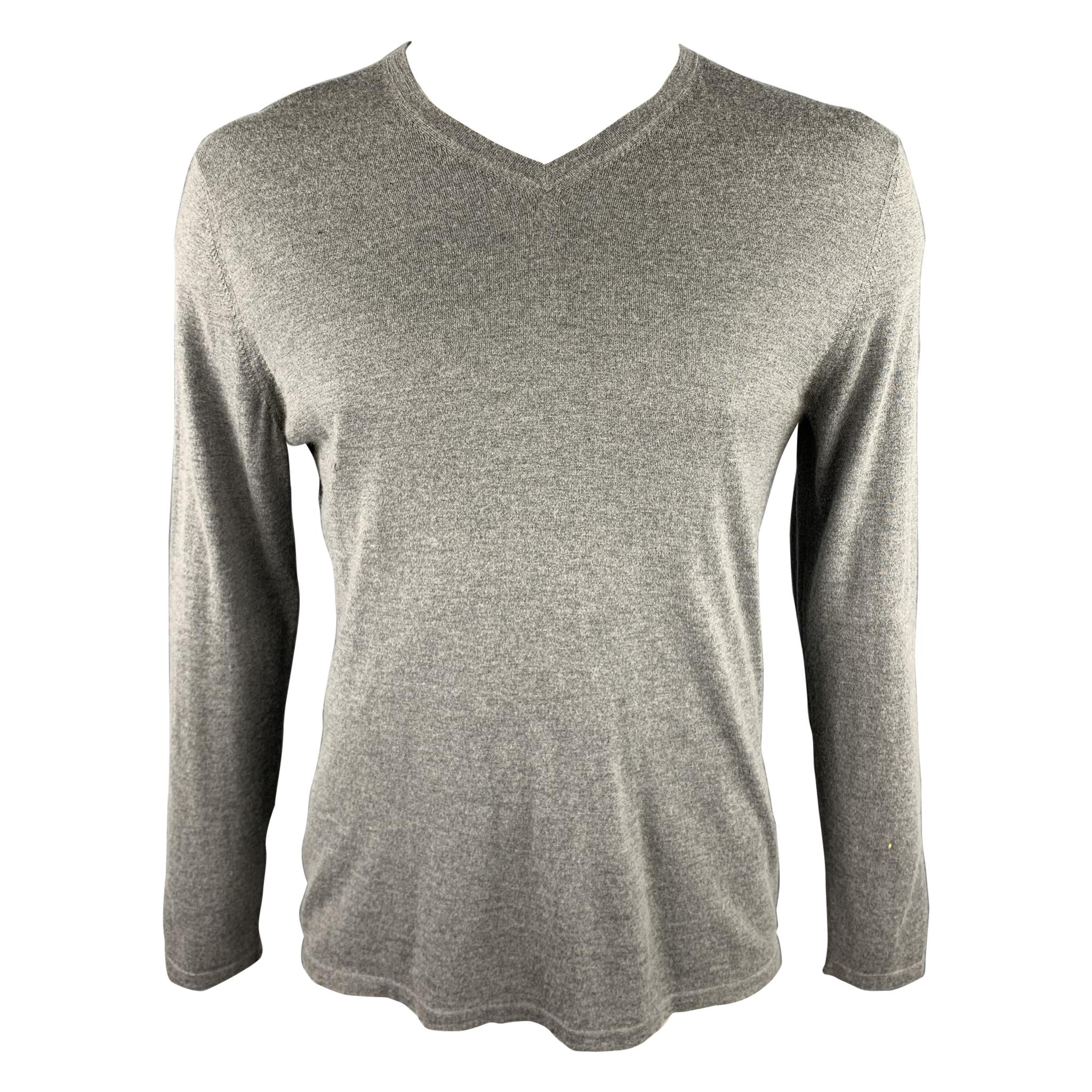 THEORY Size XL Grey Silk / Cashmere V-Neck Elbow Patch Pullover