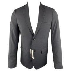 THEORY Wellar Size 38 Regular Grid Navy Wool Sport Coat
