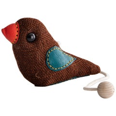 Therapeutic Bird Toy in Brown Jute with Leather by Renate Müller, 1981-1982