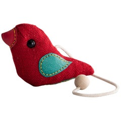 Therapeutic Bird Toy in Red Jute with Leather by Renate Müller, 1981-1982