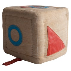Therapeutic Cube Toy in Jute with Leather by Renate Müller, 1968-1974