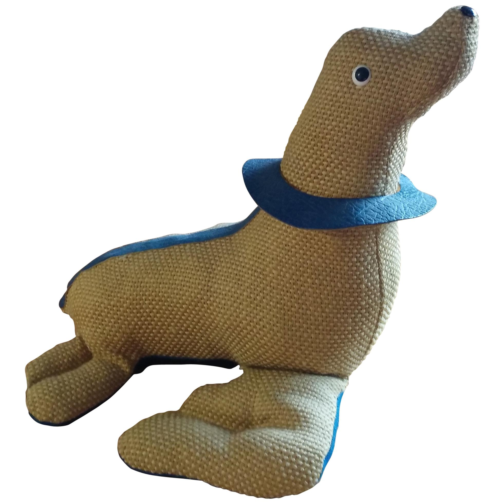 Therapeutic Seal Toy in Jute with Leather by Renate Müller, circa 1965