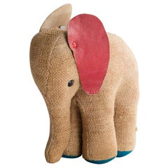 Therapeutic Small Elephant Toy in Jute and Leather by Renate Müller, circa 1969