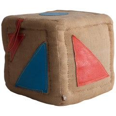 Therapeutic Toy Cube in Jute with Leather by Renate Müller, 1968-1974