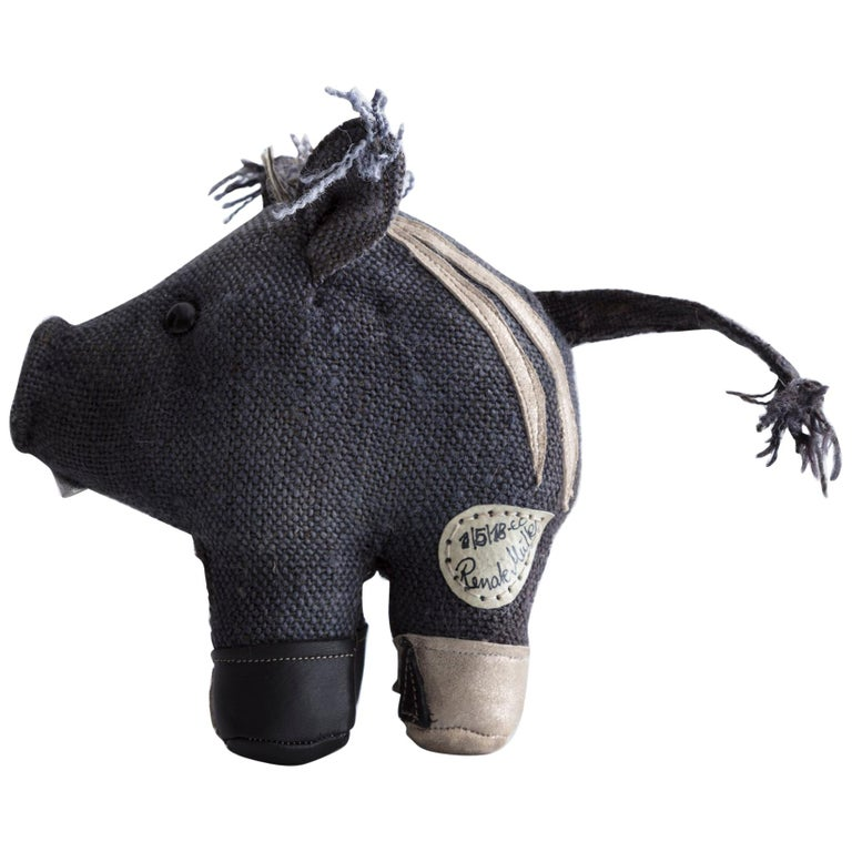 Renate Müller therapeutic wild boar toy in jute and leather, 2005, offered by R & Company
