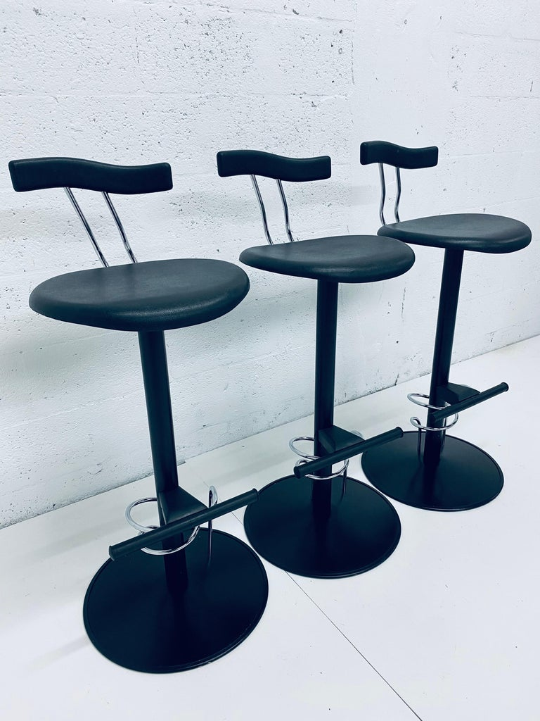 Italian There Postmodern Memphis Style Bar Stools, Italy, 1980s For Sale