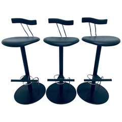 There Postmodern Memphis Style Bar Stools, Italy, 1980s