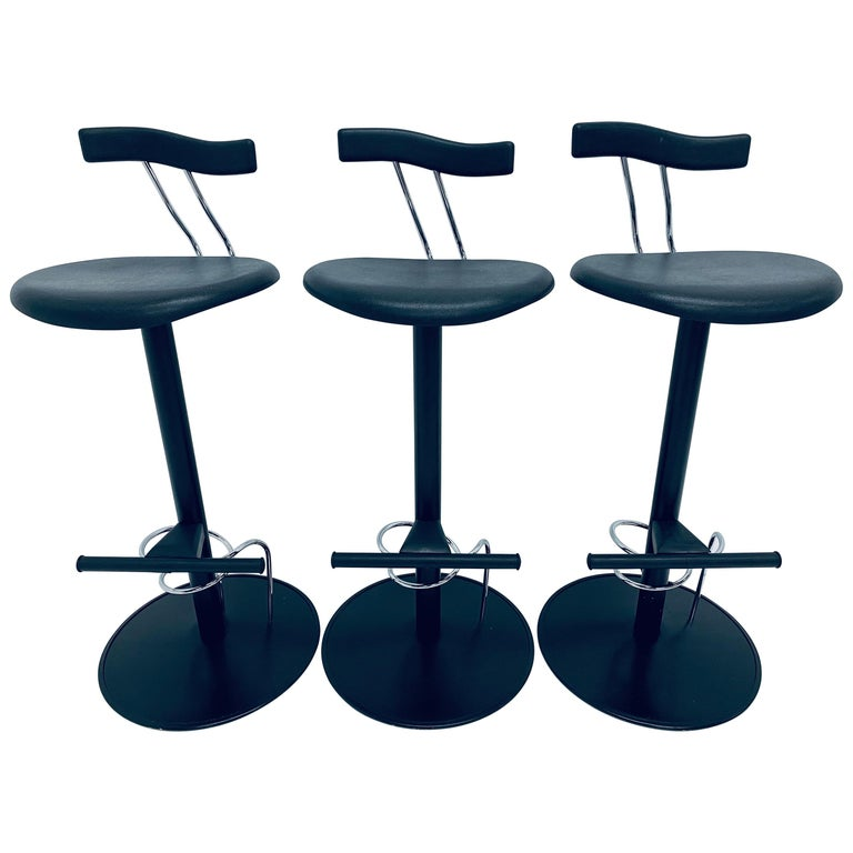 There Postmodern Memphis Style Bar Stools, Italy, 1980s For Sale