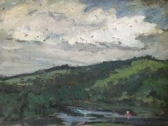 Berkshires Lake, Massachusetts, Modernist Landscape Oil Painting