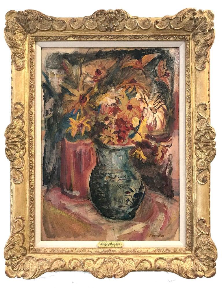 "Theresa Bernstein Still-Life Painting - ""Still Life, Flowers From My Garden"" 20th Century Polish - American Oil Painting"