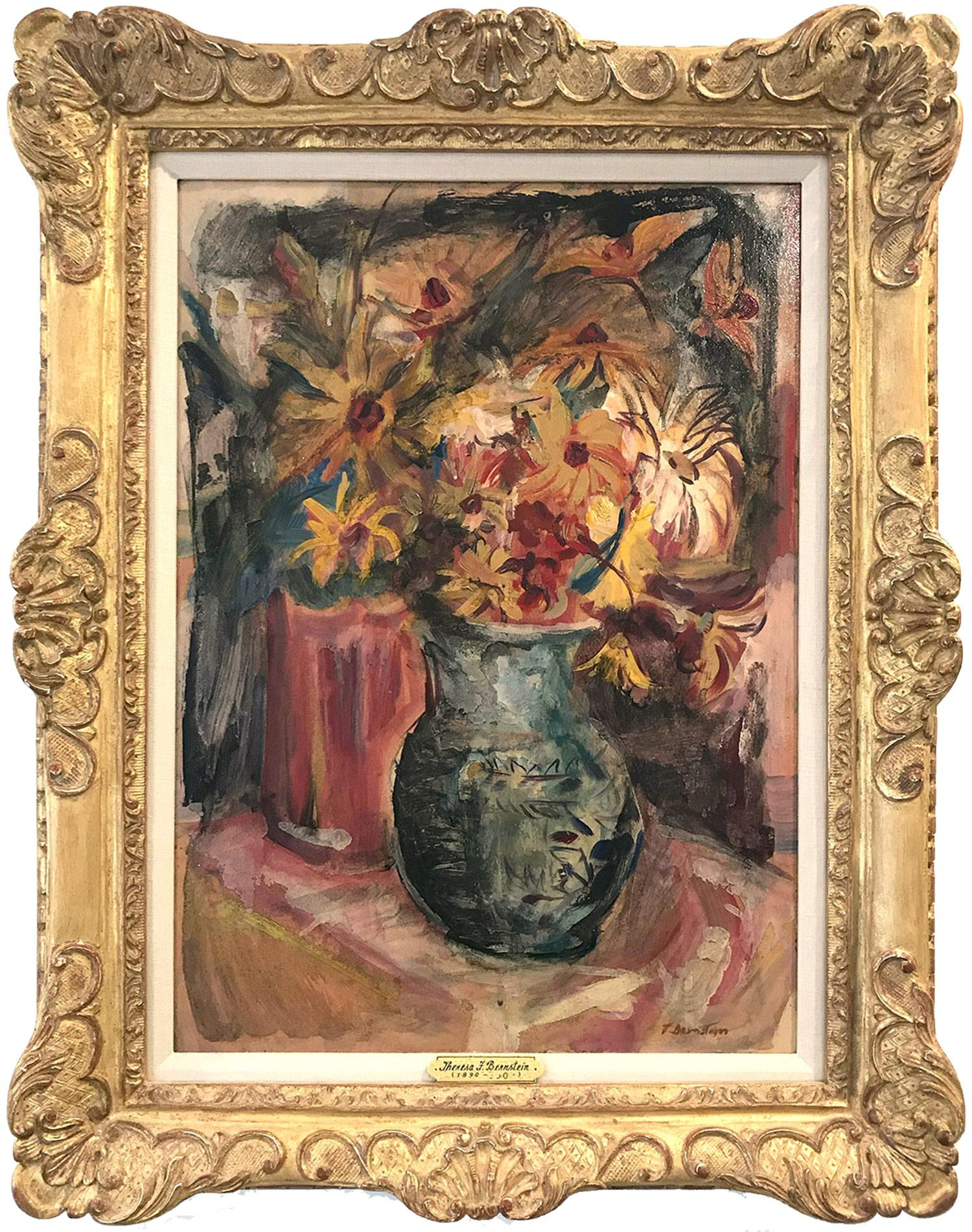 """""""Still Life, Flowers From My Garden"""" 20th Century Polish - American Oil Painting"""