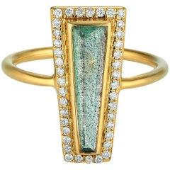 Theresa Kaz Jewelry Labradorite & Diamond Halo Elongated Tapered Baguette Ring