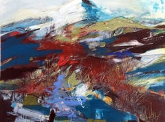 Snow capped mountain, Mixed Media on Canvas
