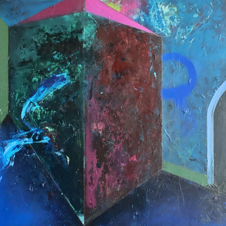 Theresa Vandenberg Donche Abstract Painting - Rooms-Dark Corners, Painting, Acrylic on Wood Panel