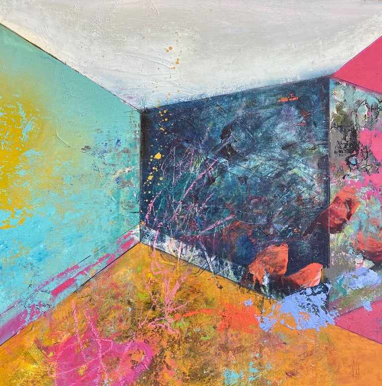 Theresa Vandenberg Donche Abstract Painting - Rooms-Summer Walled In, Painting, Acrylic on Wood Panel