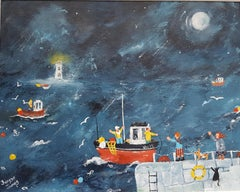 """A Boat Called Hope.""  Contemporary Naive School Painting"