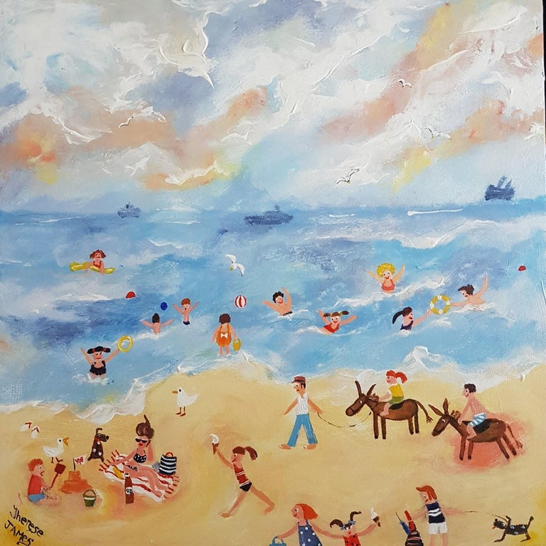 Therese James Figurative Painting - Donkey Days . Contemporary Naive School Painting