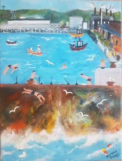 Ducking and Diving.  Naive School Painting
