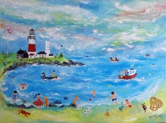 """""""Montauk Point Lighthouse"""" Contemporary British Naive School Painting"""