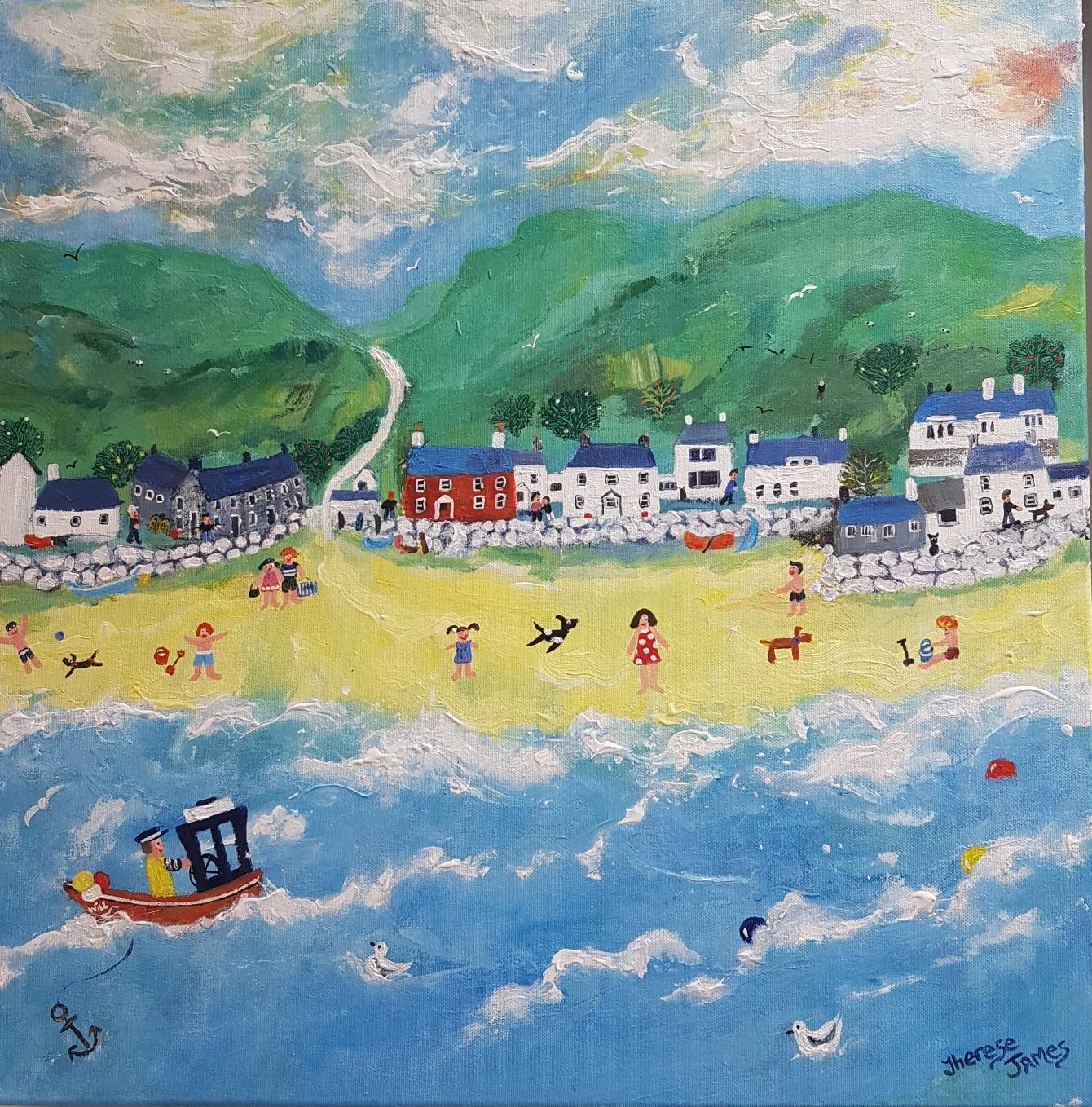 Sunny Days In Our Happy Place. Contemporary Naive School Painting